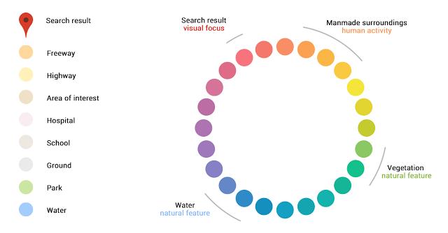 پالت رنگ نقشه گوگل